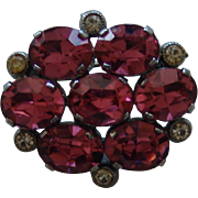 Pink Foil Backed Faceted Rhinestone Brooch with Small Clear Rhinestone Accents