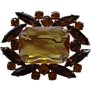 Faux Citrine Brooch with Brown and Citrine Rhinestone Accents