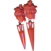 Antique Coral Bacchus Earrings With Coral Urns