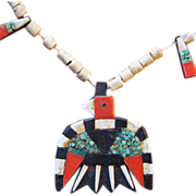 Depression Era Santa Domingo Pueblo Thunderbird Inlay Necklace
