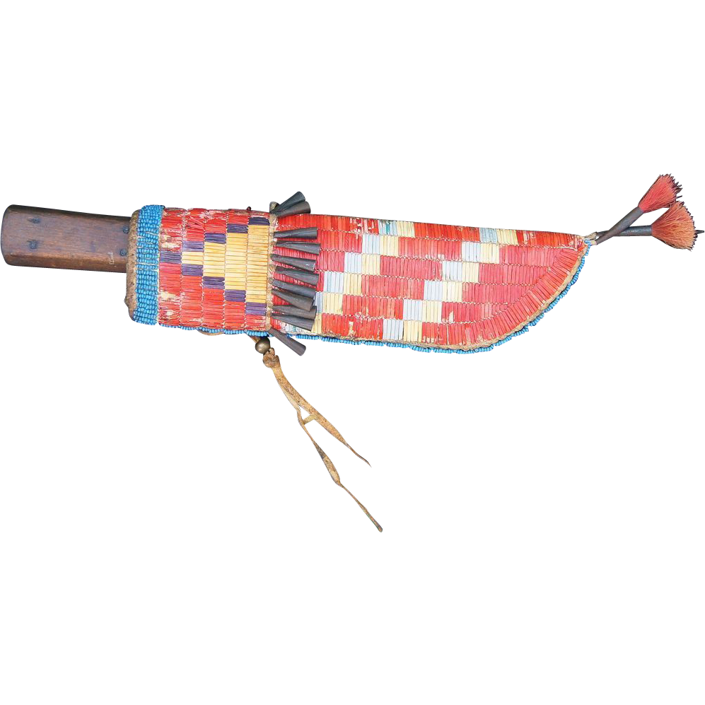 Lakota Quilled and Beaded Knife Sheath 1890's