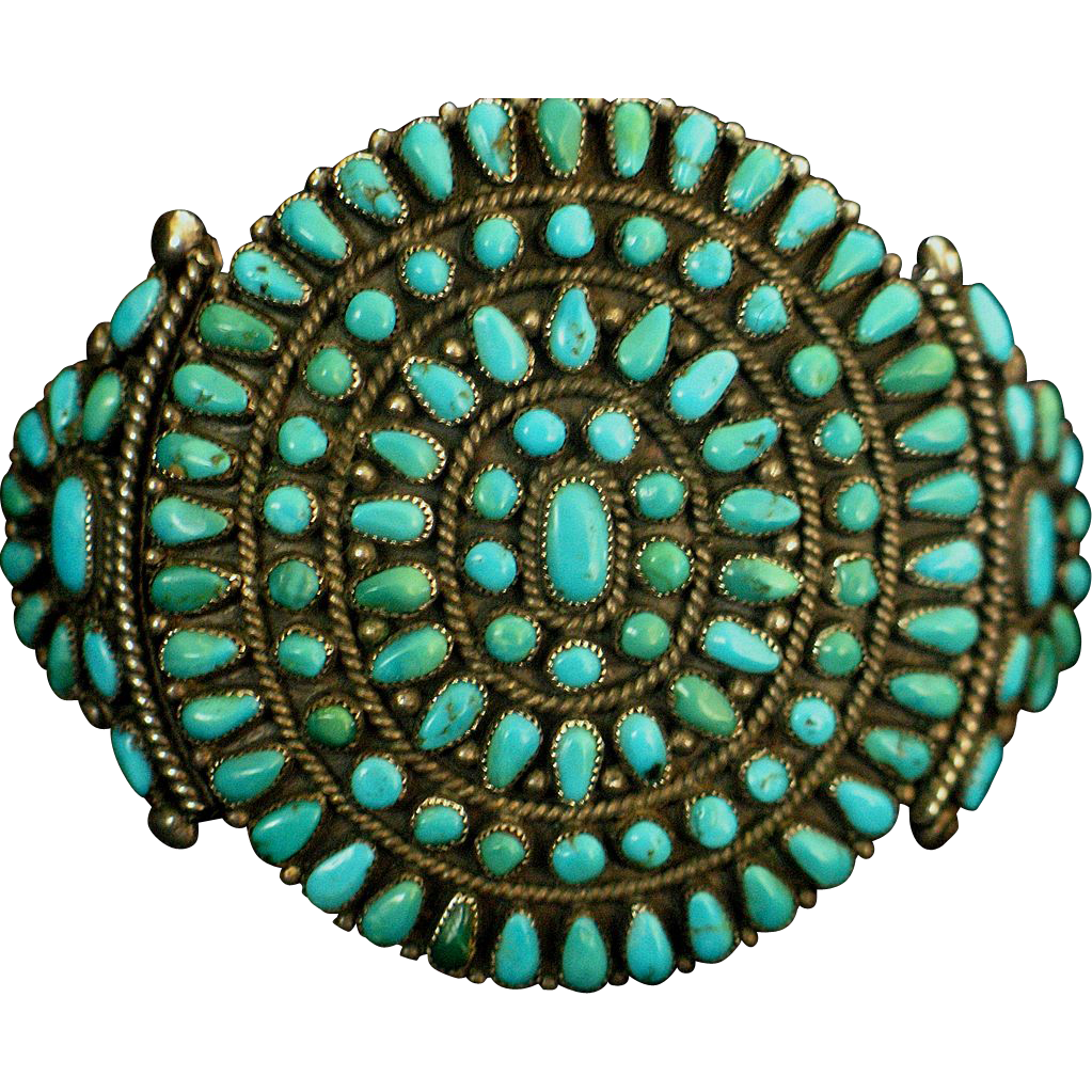 1950's Native American Morenci Turquoise Cluster Bracelet