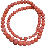 Antique Carved Coral Pineapple Bead Necklace