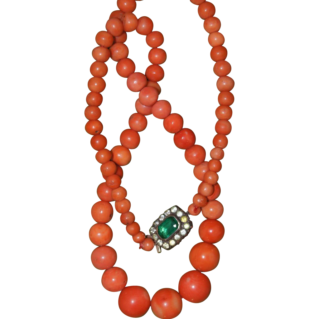 Victorian Coral Necklace With Antique Paste Clasp