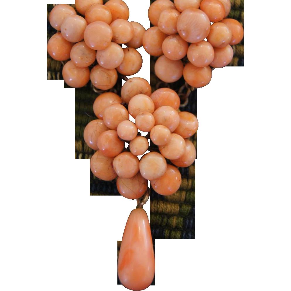 Victorian Coral  Festoon Necklace w/Coral Drop