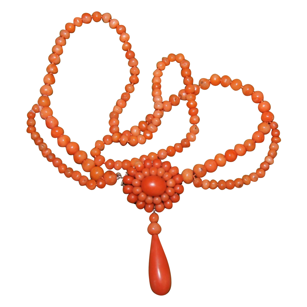 Victorian Coral Necklace with Fancy Pendant Clasp and Coral Drop
