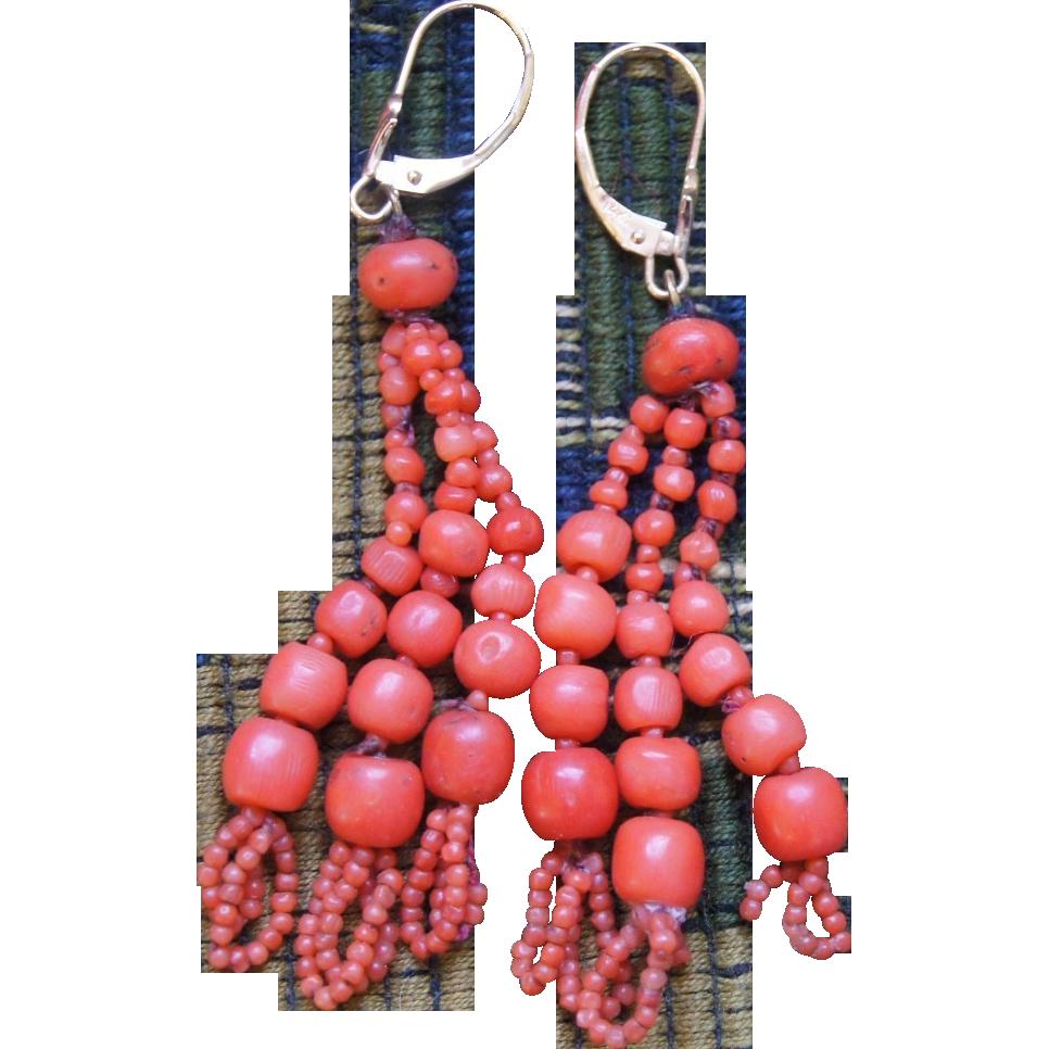 Victorian Coral Tassel Earrings