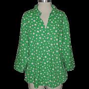 "SALE PENDING Martha's Vineyard Lemon Grass Studio Green Polka Dot Blouse ~ 40"" Bust"