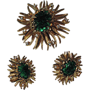RARE Boucher 1968 Sea Anemone Molded Glass Brooch & Earring Set