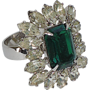SALE Napier 1950's Emerald Rhinestone Cocktail Ring ~ Adjustable Size