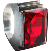 Art Deco Sterling Red Glass Step Cut Skyscraper Cocktail Ring ~ Size 4