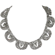 Kramer of New York 1955 Diamond Look 3D Rhinestone Loop Necklace ~ Magazine Ad Piece