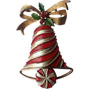 REDUCED RARE Mylu Candy Cane Striped Candy Christmas Bell Pin, Book Piece