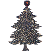 REDUCED Garnet Heart Topper Sterling Silver Marcasite Christmas Tree Pin