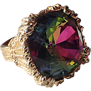 REDUCED RARE Napier 1965 Watermelon Hope Diamond Cocktail Ring, Book Piece