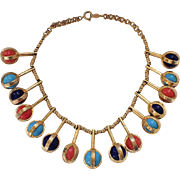 SALE RARE Accessocraft N.Y.C. Egyptian Revival Lapis, Coral, Turquoise Glass Necklace