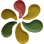 Mid-Century West Bend Melamine Melmac Teardrop Amoeba Snack Plates, Set of 8