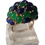 SALE Boucher 1966 RARE ~ Lapis Blue & Emerald Green Glass Dome Cocktail Ring