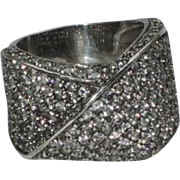 Vintage Pave Crystal Twist Sterling Silver Cocktail Ring, Size 9-9.25