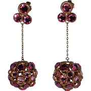 Trifari 1967 Confetti Pink Swarovski Crystal Drop Earrings