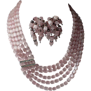 Castlecliff 1960's Pink Satin Glass Rhinestone 5-Strand Necklace & Earrings