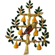 SCARCE Cadoro Signed Patridge in a Pear Tree Christmas Pin, Book Piece