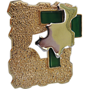 Jomaz Modernist Emerald Green Glass Pin/Pendant