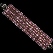 SALE Weiss Wide Pink Glass & Pink AB Rhinestone Bracelet