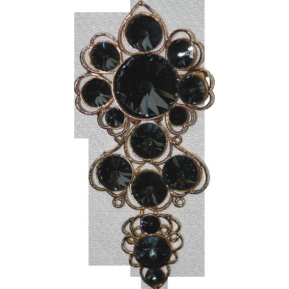 Corocraft Mod Smokey Gray Swarovski Rivoli Crystal Pendant/Brooch