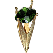 Corocraft 3D Green Stone Crown-Torch Brooch