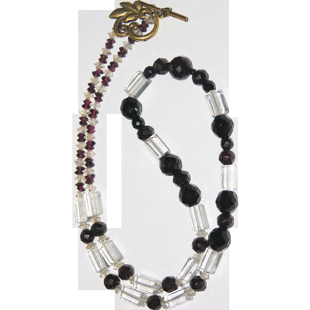 Art Deco Cherry Amber Bakelite, Jet, Crystal & Garnet Necklace