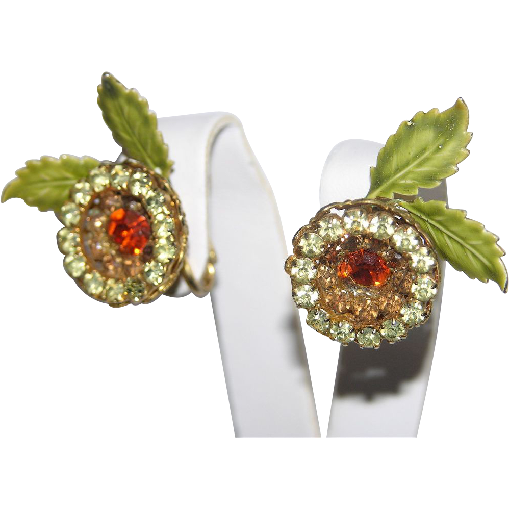 Vendome 1950's Floral Rhinestone & Enamel 3D Earrings