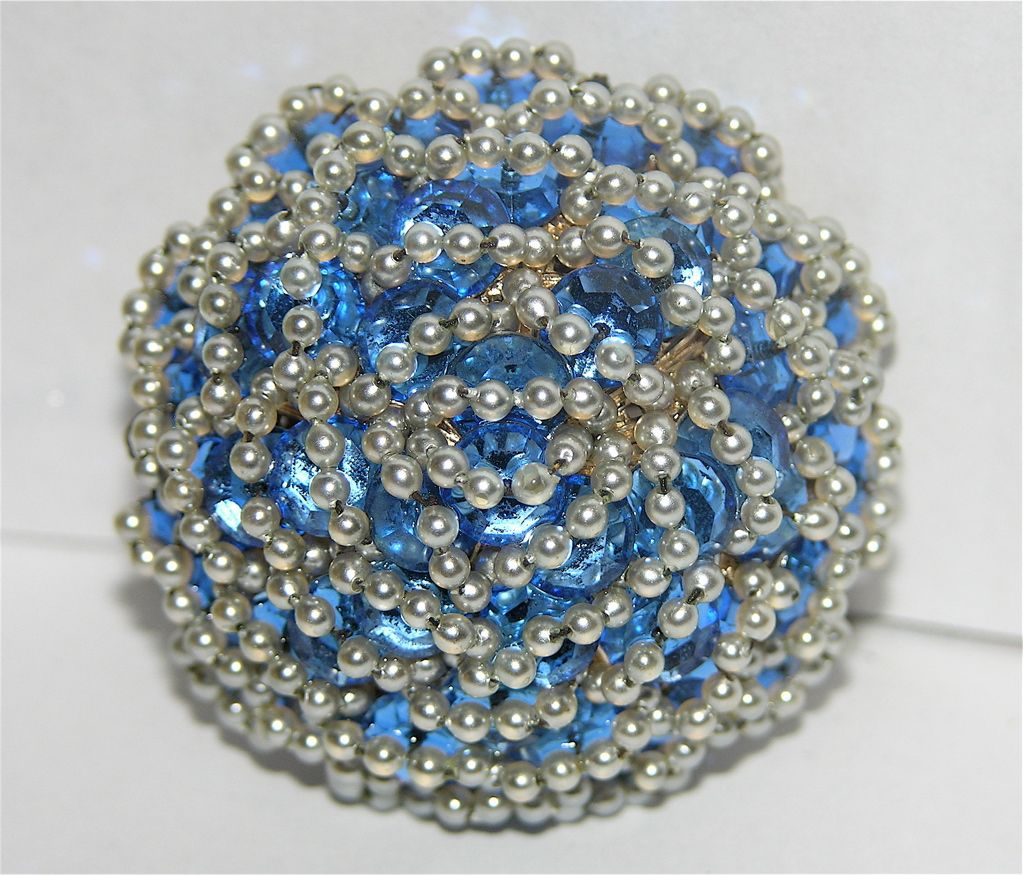 Vendome Queen Anne's Lace Sapphire Blue Crystal & Pearl 3D Brooch