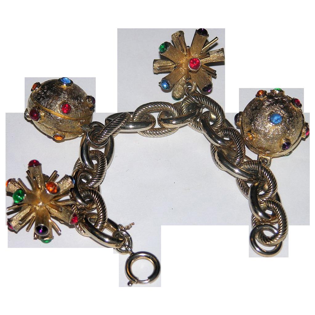 Trifari 1960's Atomic Sputnik 3D Glass Cabochon Charm Bracelet
