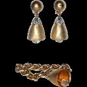 SALE Napier 1970 Wedding Bell Charm Bracelet & Earring Set ~ Book Piece