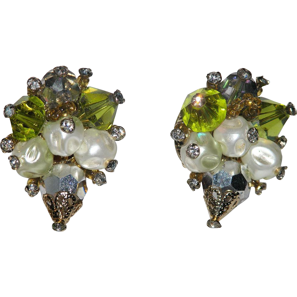 Vendome 1960's Crystal, Baroque Pearl & Rhinestone Earrings