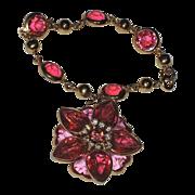 SALE Kramer of New York Heart Fuchsia Pink Crystal 3D Flower Charm Bracelet