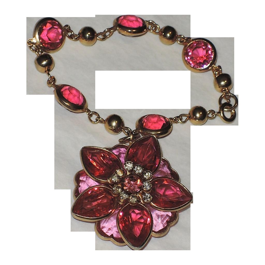 Kramer of New York Heart Fuchsia Pink Crystal 3D Flower Charm Bracelet
