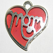 Jezlaine Signed Poured Glass Sterling MOM Heart Charm/Pendant