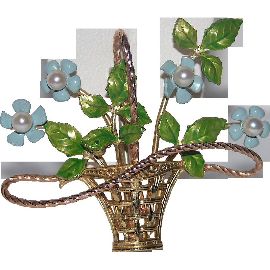 Krementz 1969 14K Gold overlay & Genuine Pearl Flower Basket Pin