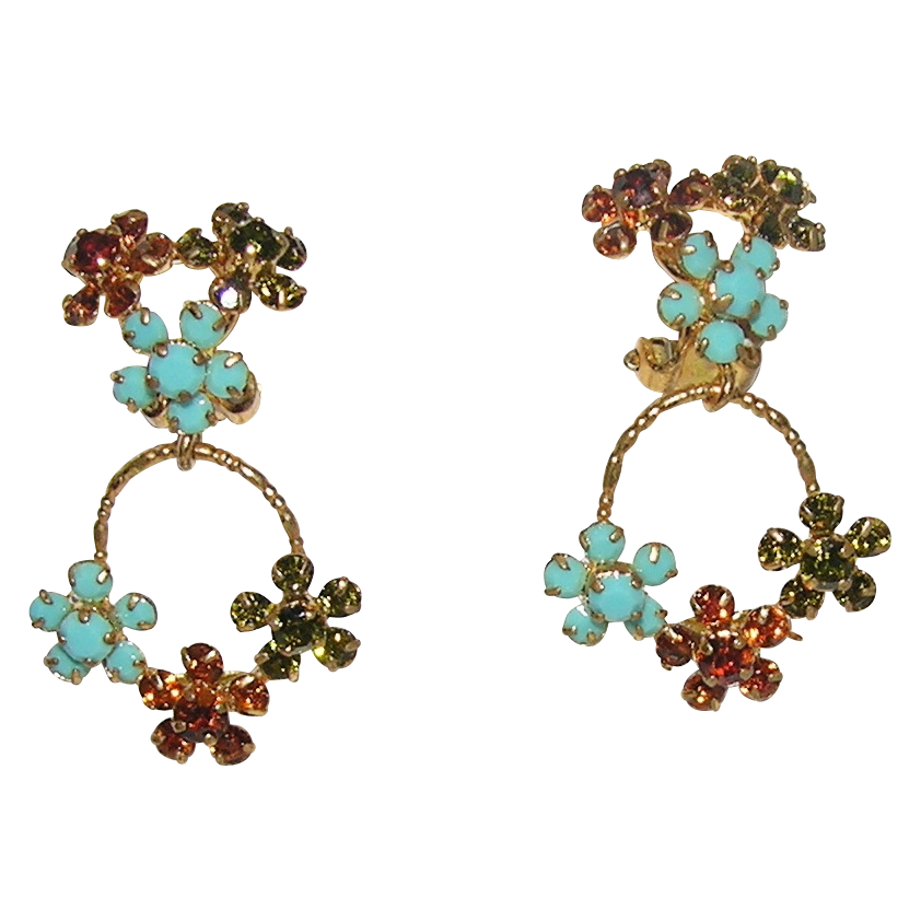 Austria Signed Flower Turquoise Glass, Olivine & Citrine Rhinestone Drop Earrings
