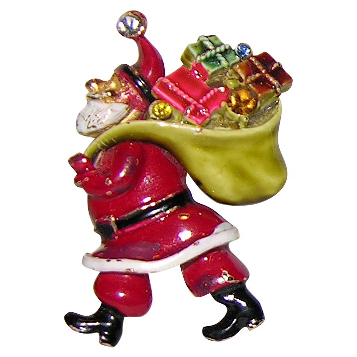 RARE ART Signed  Enamel & Rhinestone Santa Claus with Presents Pin