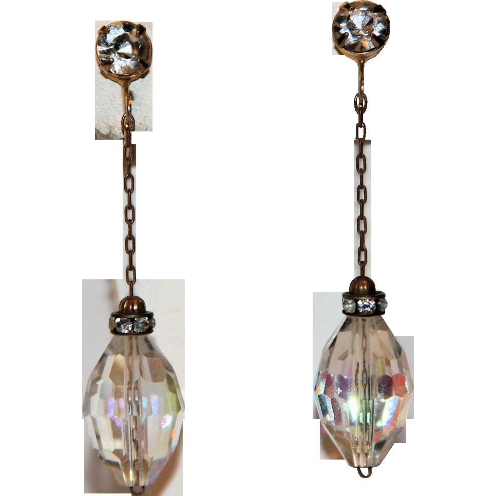 Castlecliff 1960's Crystal & Rhinestone Rondelle Drop Earrings