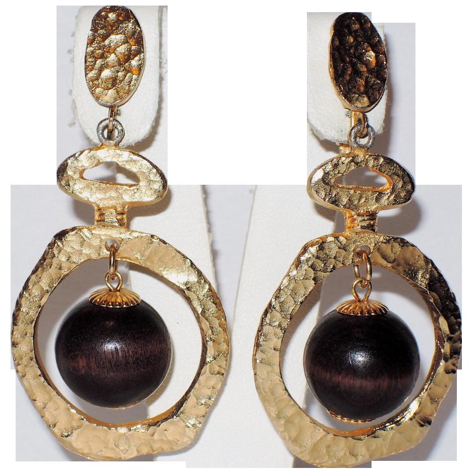 Vendome 1967 Bolder Than Gold Wood Bead Drop Earrings