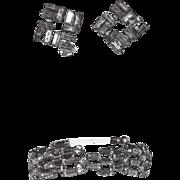 SALE Austria Signed Baguette Rhinestone Bracelet & Earring Set