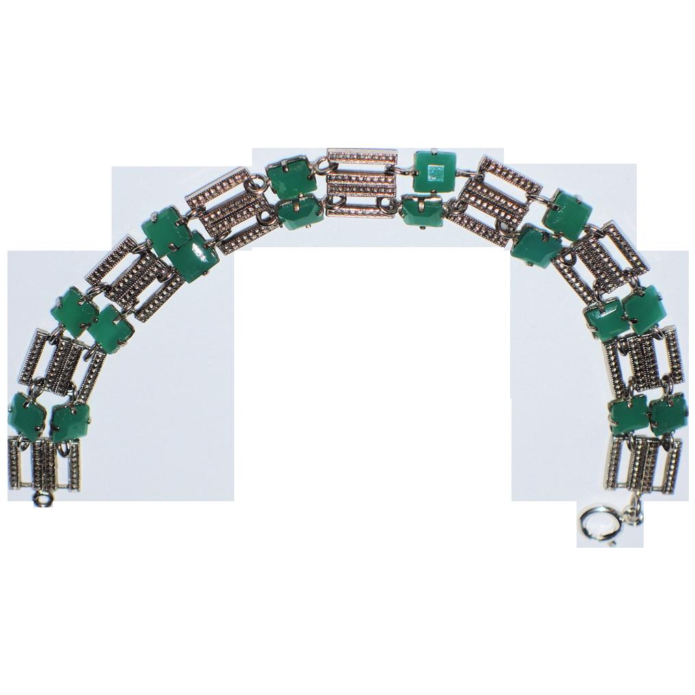 Art Deco Czech Chrysoprase Link Bracelet