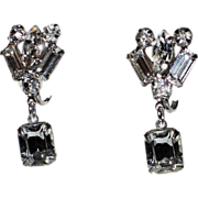 1950's Rhinestone Baguette Drop Earrings ~ Pristine!