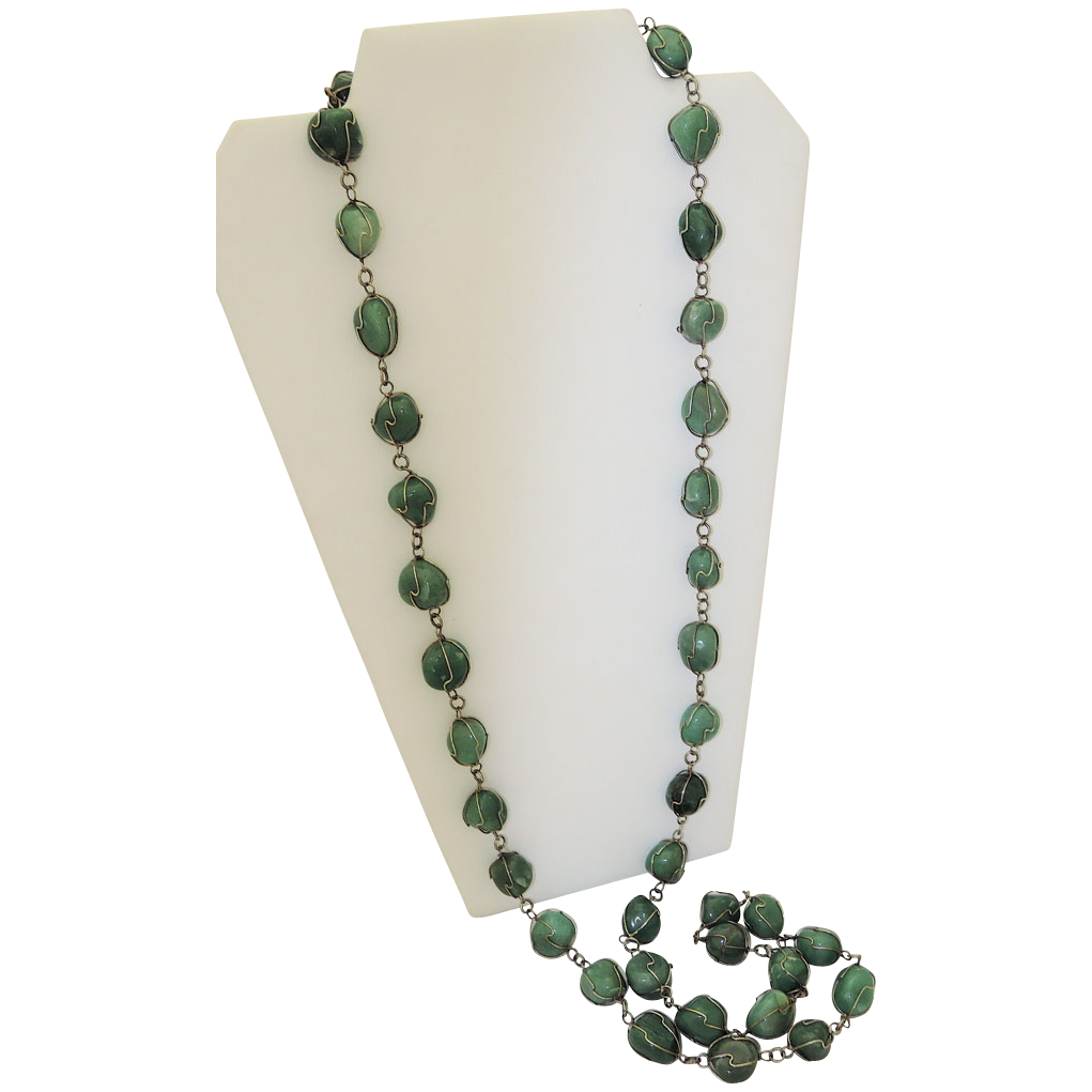 """Awesome Sterling Caged Tumbled Aventurine Gem 48"""" Sautoir Necklace"""