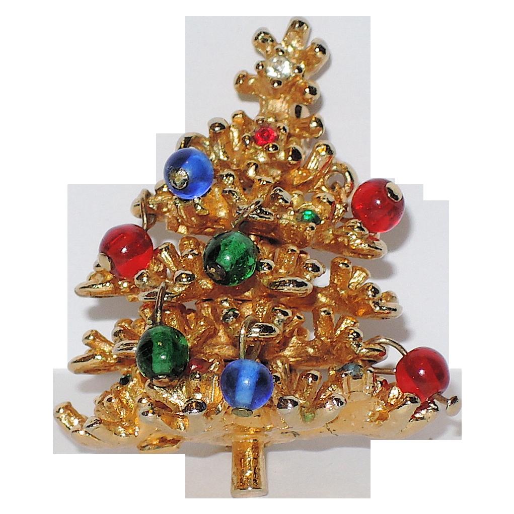 Petite 3D Glass Ornaments Christmas Tree Pin