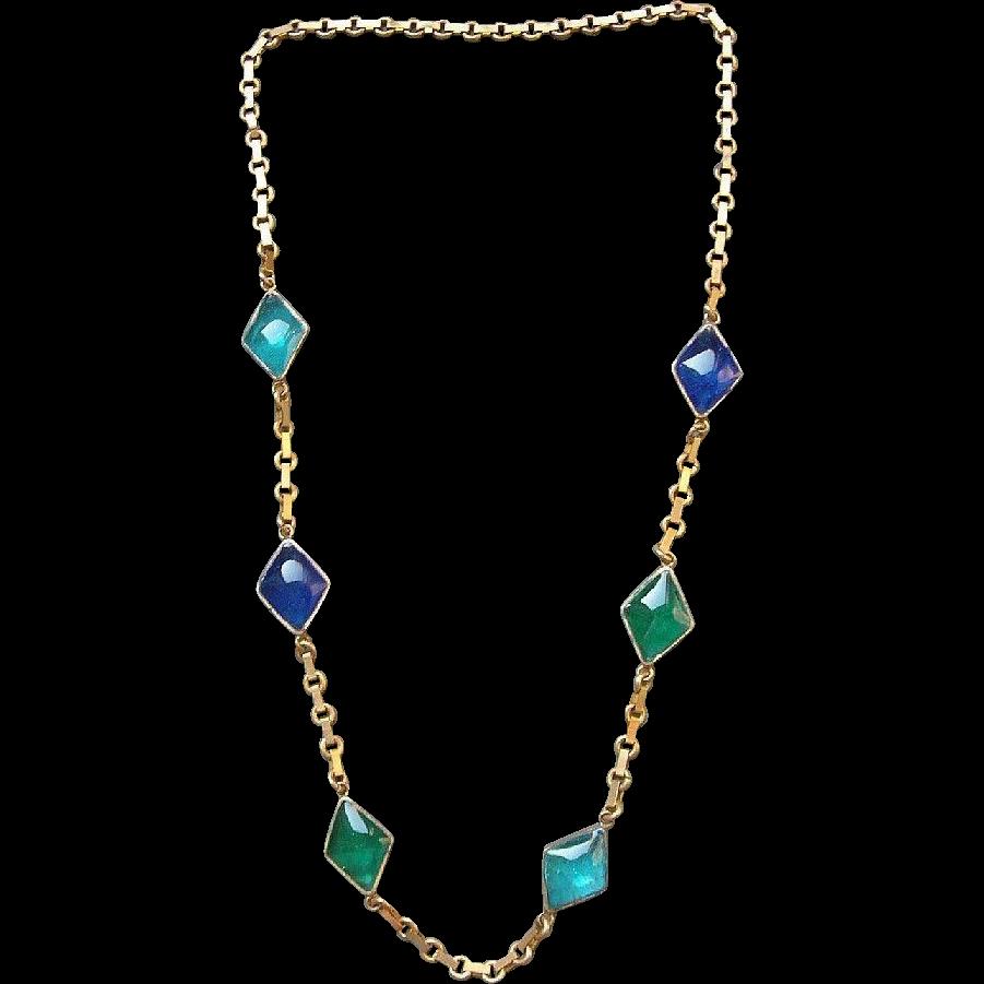 SCARCE 1920's Art Deco French Gripoix Gilt Sautoir Necklace